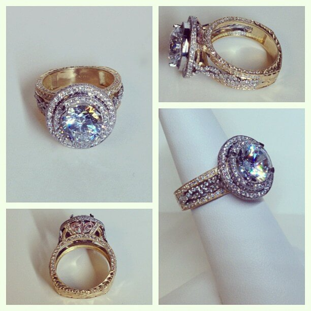 Custom Tri Color Double Halo Engagement Ring