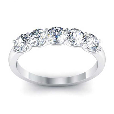 3.5mm Forever One Moissanite Round Five Stone Ring