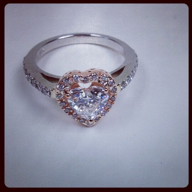 rose gold heart halo ring