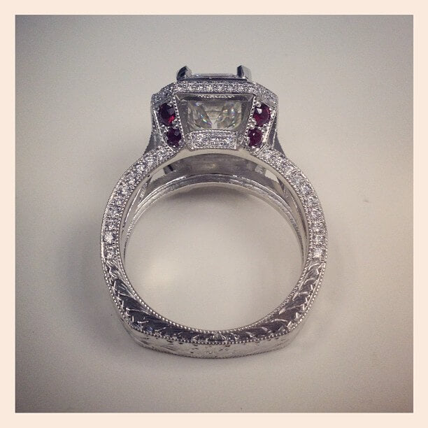 custom engagement ring with rubies