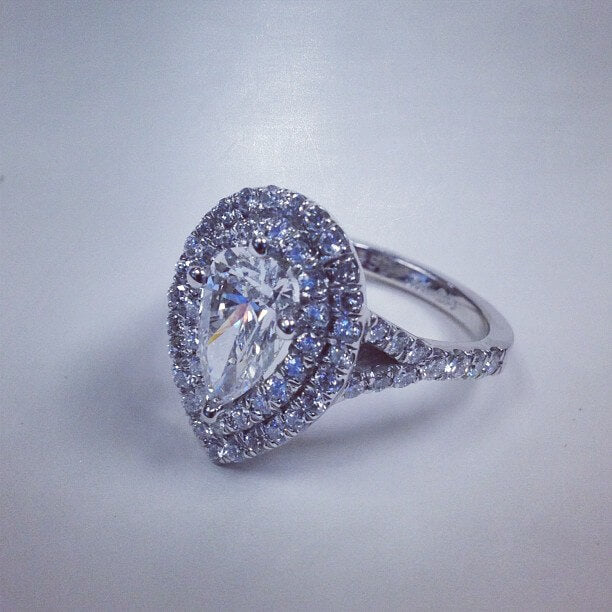 Pear Double Halo Engagement Ring