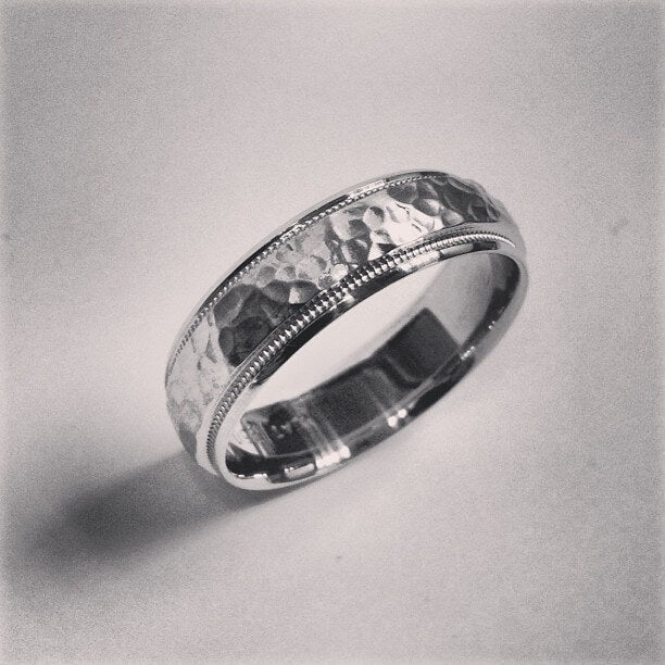 Hammered Platinum Ring