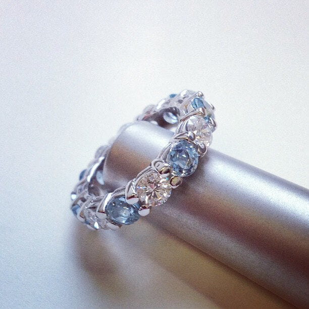 Aquamarine and Diamond Eternity Band