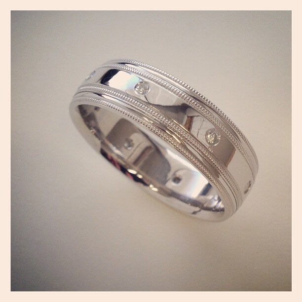 Mens Platinum Diamond Wedding Band