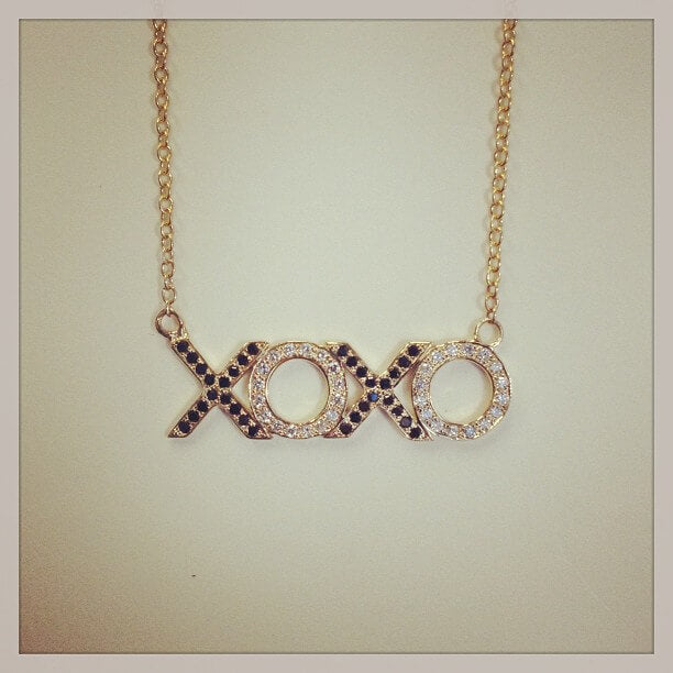 Black and White Diamond XOXO Necklace