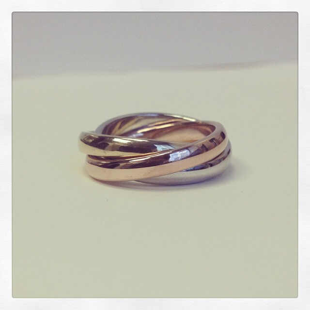 Tri Color Gold Rolling Ring