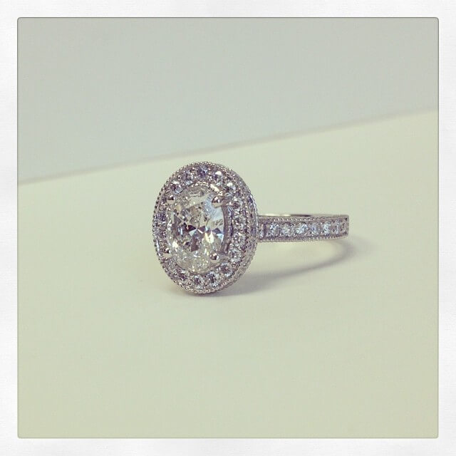 Vintage Style Oval Halo Engagement Ring