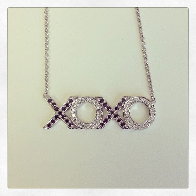 XOXO Black and White Diamond Necklace