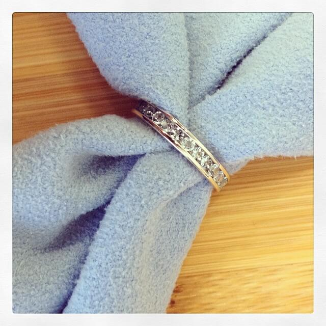White Gold Aquamarine Eternity Band