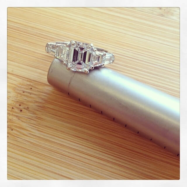 Emerald Cut Five Stone Engagement Ring