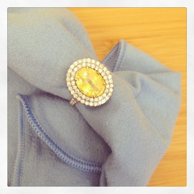 Yellow Sapphire Engagement Ring with Diamonds