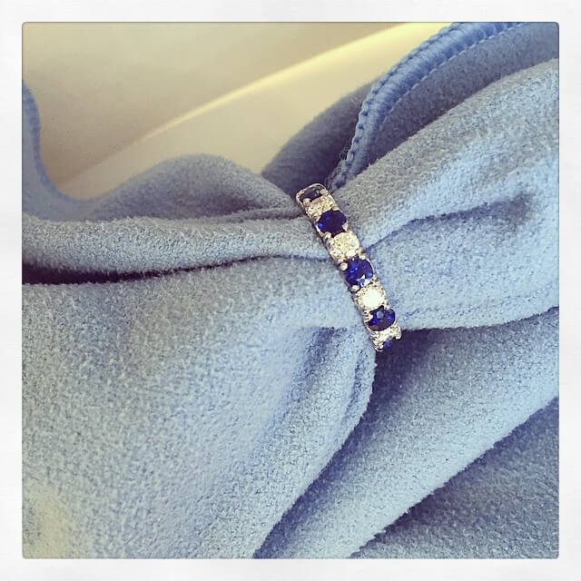 Sapphire and Diamond Pave Ring
