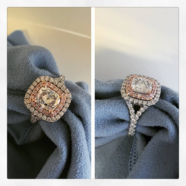 Double Halo Engagement Ring with Pink Diamonds