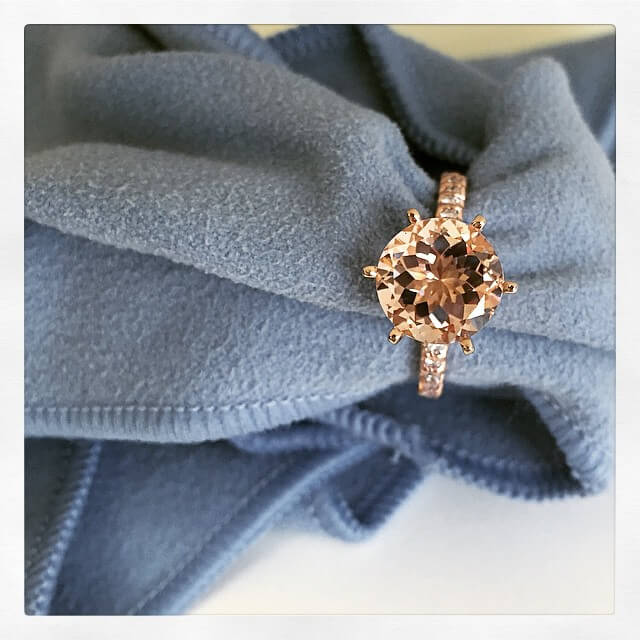 Morganite Engagement Ring with Pave Band
