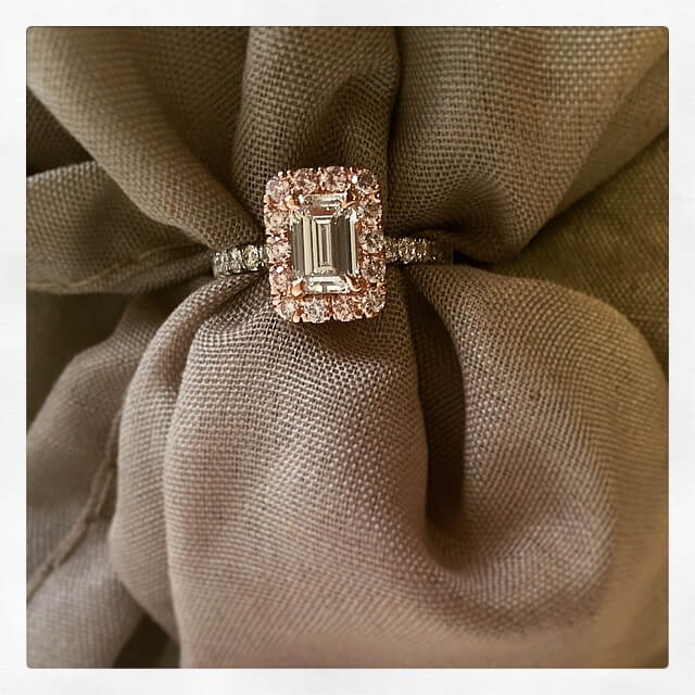 Emerald Cut Engagement Ring with Pink Diamonds