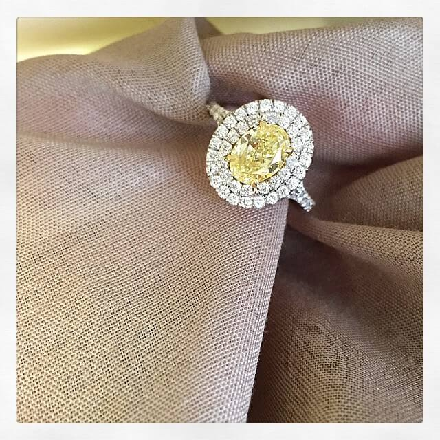Fancy Yellow Oval Cut Engagement Ring