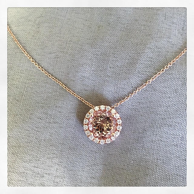 Morganite and Diamond Halo Pendant Necklace