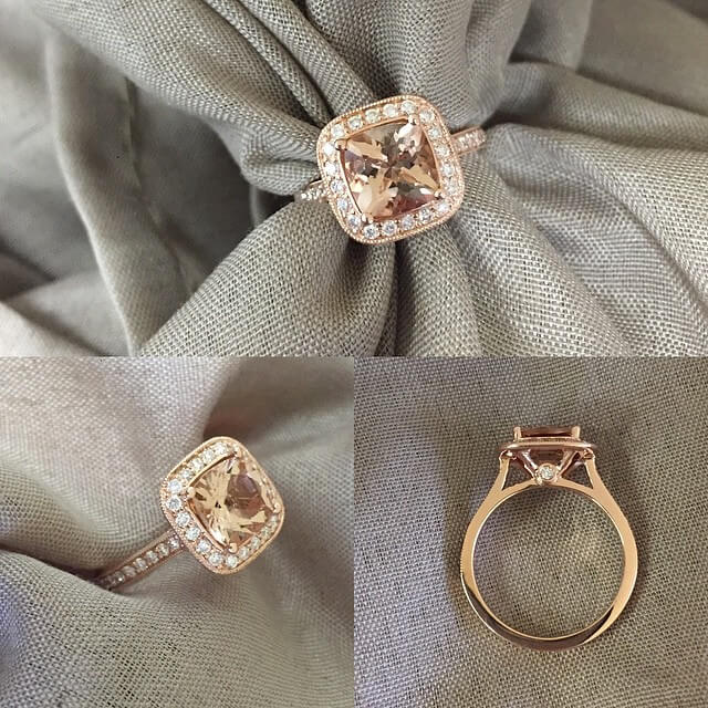 Antique Style Morganite Engagement Ring