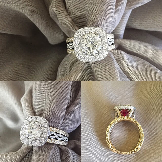 Two Tone Ring with Halo and Rubies