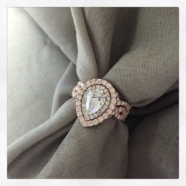 Pear Diamond Double Halo Engagement Ring with Matching Band