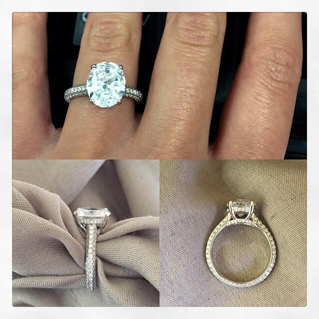 Domed Pave Engagement Ring for Oval Diamond