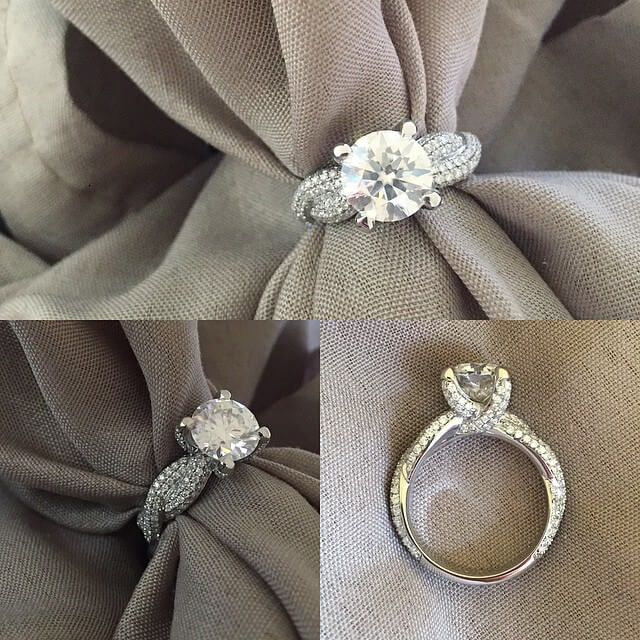 Pave Diamond Engagement Ring with Twisted Band