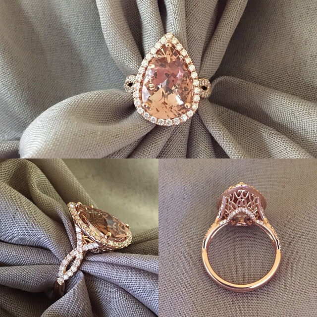 Pear Morganite Twisted Shank Engagement Ring