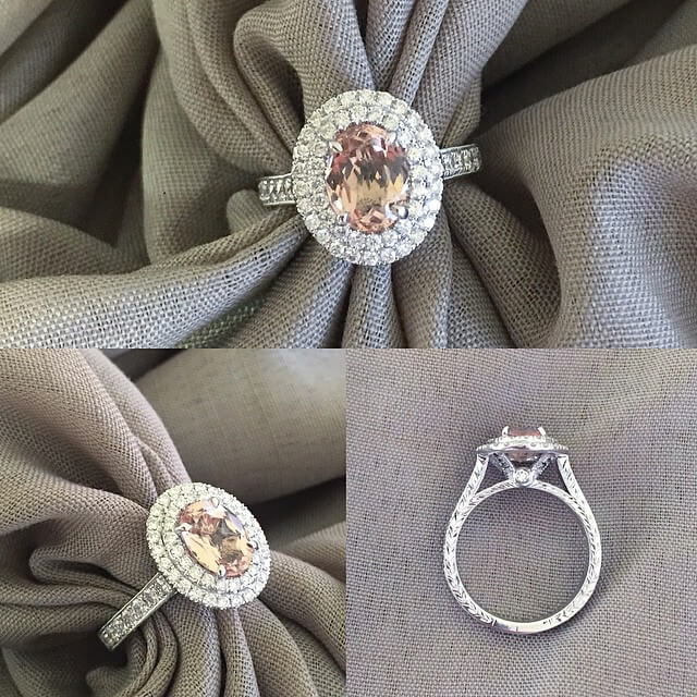 Oval Cut Morganite Double Halo Engagement Ring
