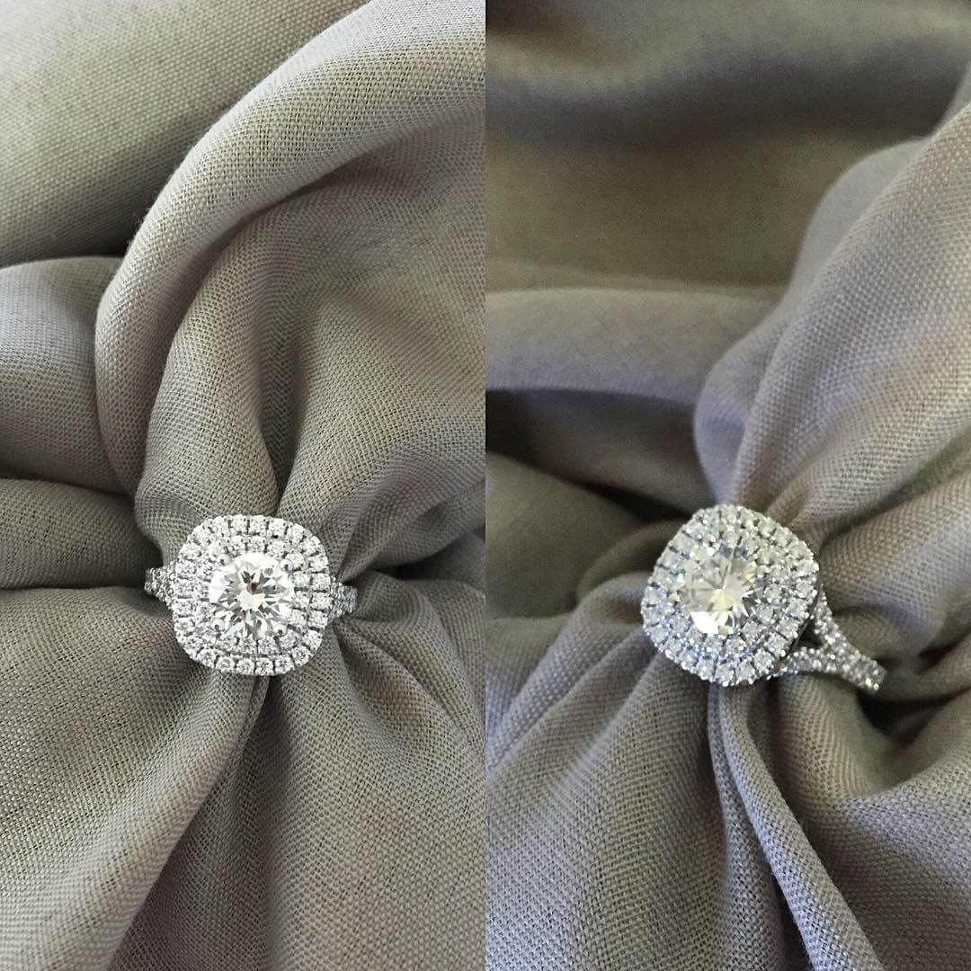 Cushion Double Halo Ring with Round Diamond