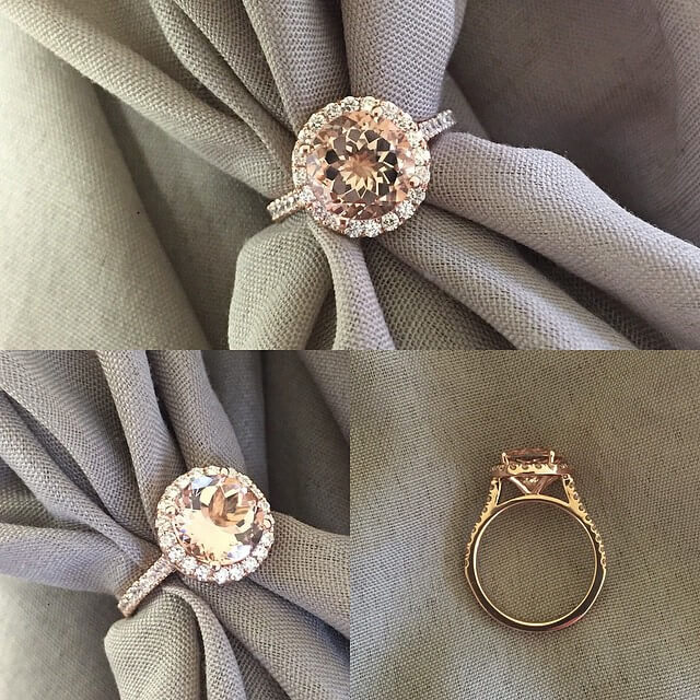 Rose Gold Halo Setting for Round Morganite