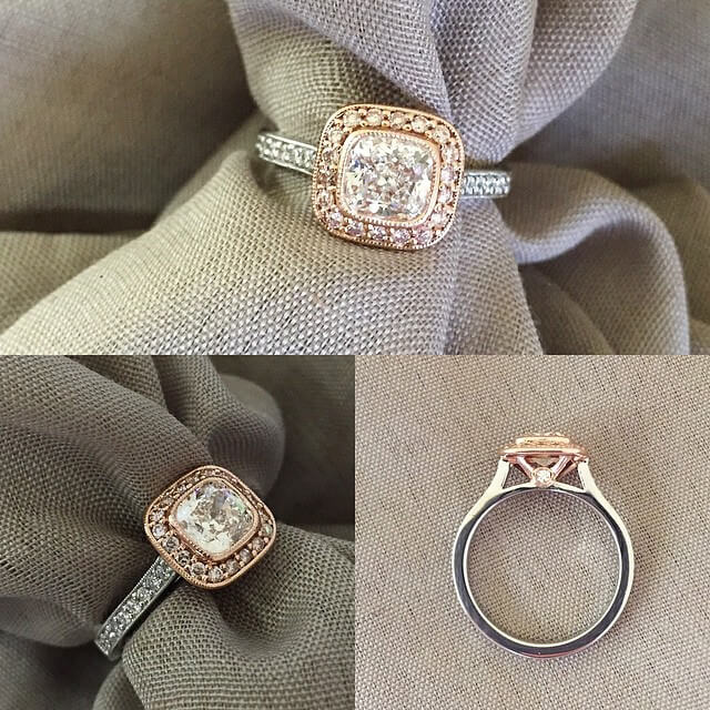Pink Diamond Two Tone Halo Engagement Ring