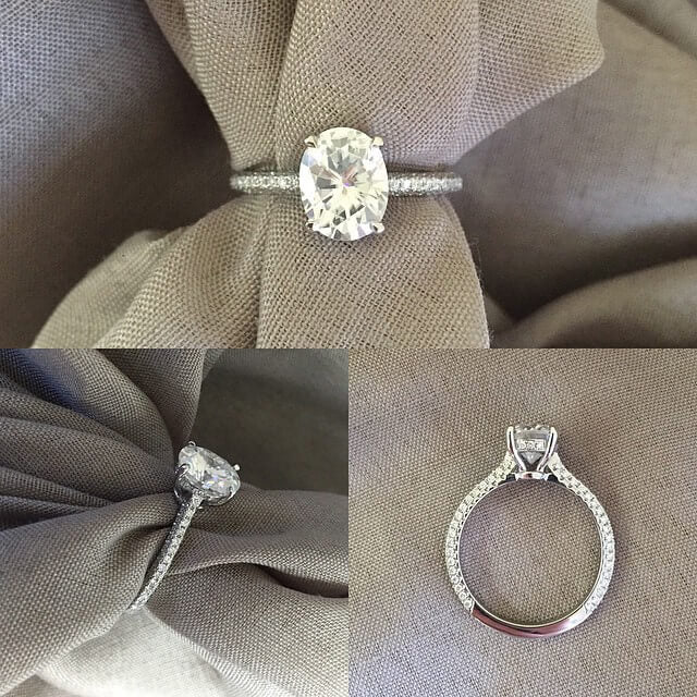 Thin Pave Diamond Engagement Ring for Oval Moissanite