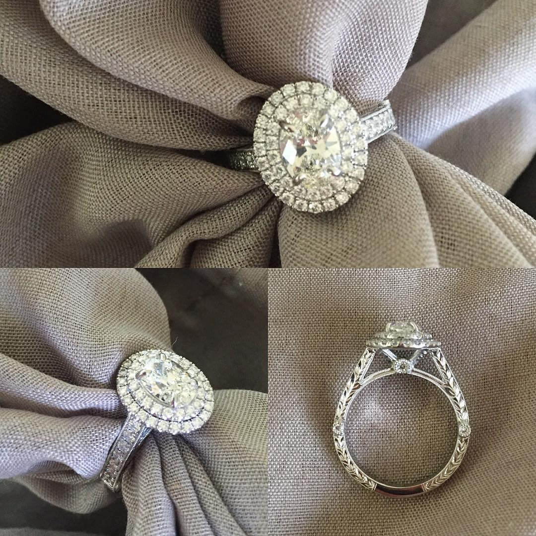Antique Style Oval Double Halo Engagment Ring