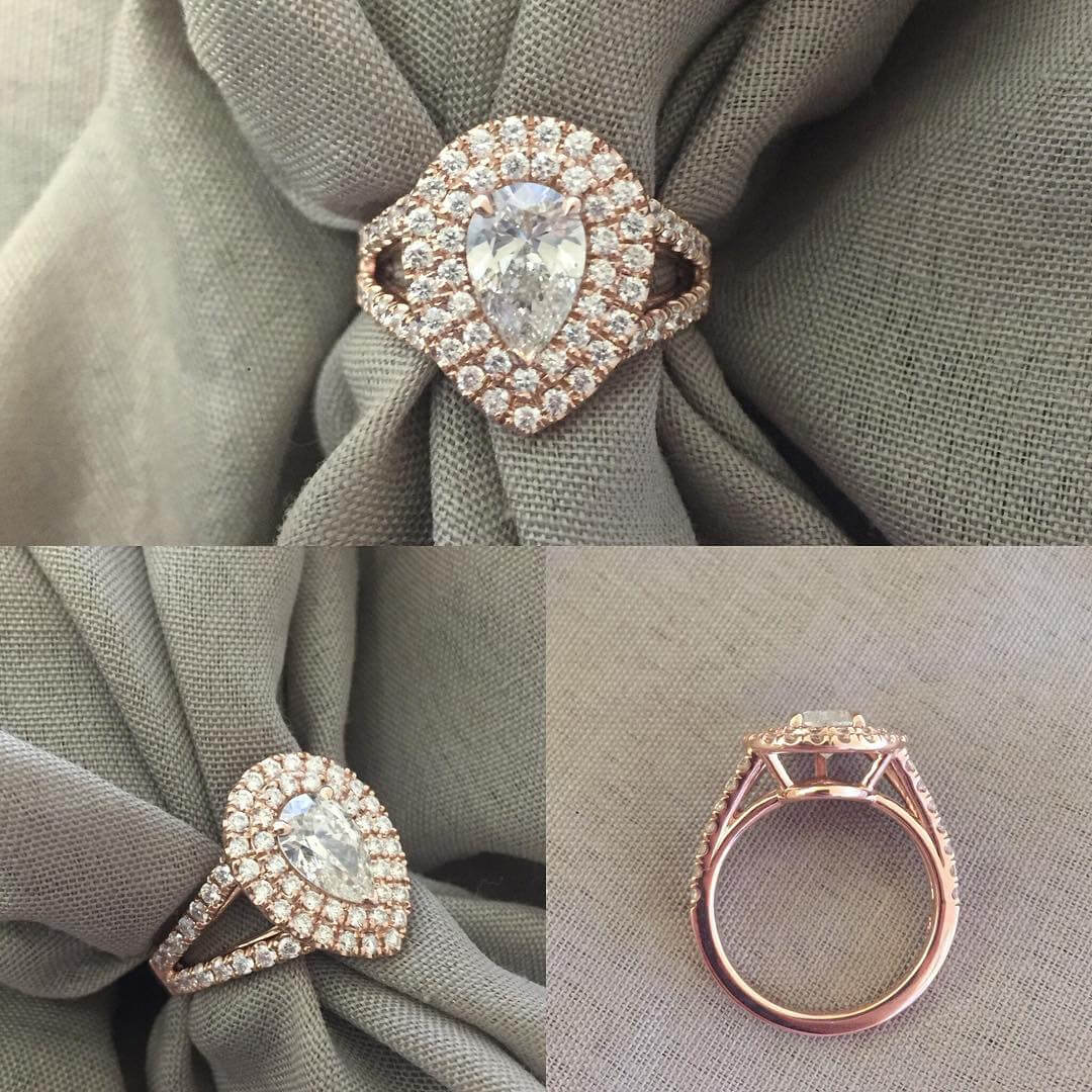 Double Halo Engagement Ring for Pear Diamond