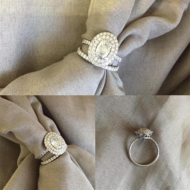 Double Halo Oval Engagement Ring with Matching Band