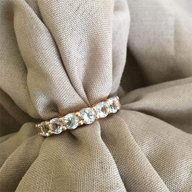 Aquamarine Eternity Ring in Rose Gold