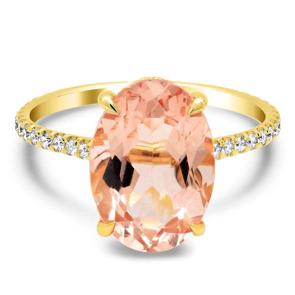 Oval Morganite with Pave Diamond Basket Engagement Ring