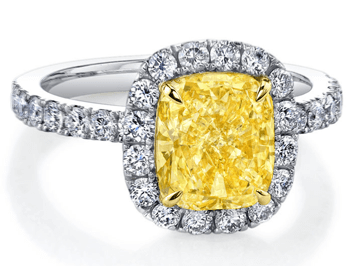 Fancy Yellow Halo Engagement Ring
