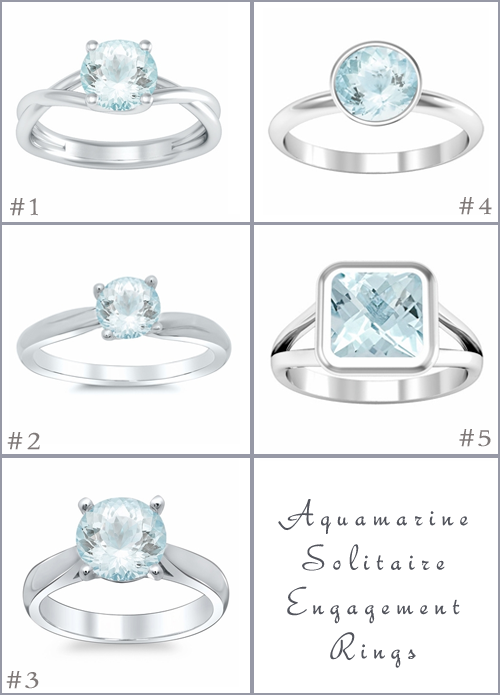 Aquamarine Solitaire Engagement Rings