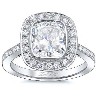 Bezel Cushion Halo Engagement Ring
