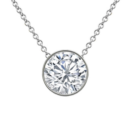 Bezel Floating Round Diamond Solitaire Pendant Necklace