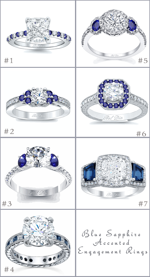 Blue Sapphire Accented Engagement Rings