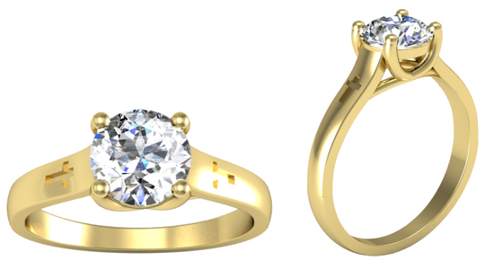 Cross Design Engagement Ring