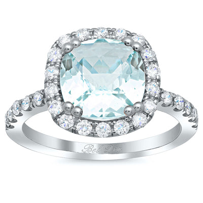 Cushion Cut Aquamarine Engagement Rings
