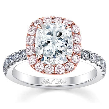Two Tone Halo Engagement Ring