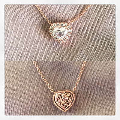 Rose Gold Heart Diamond Halo Pendant