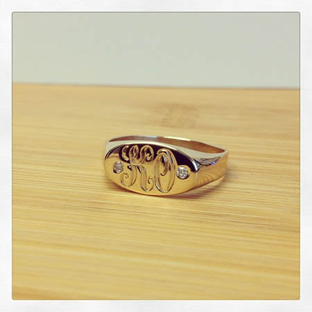 Custom Signet Ring with Diamonds