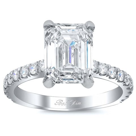 Diamond Accented Engagement Ring for Emerald Diamond