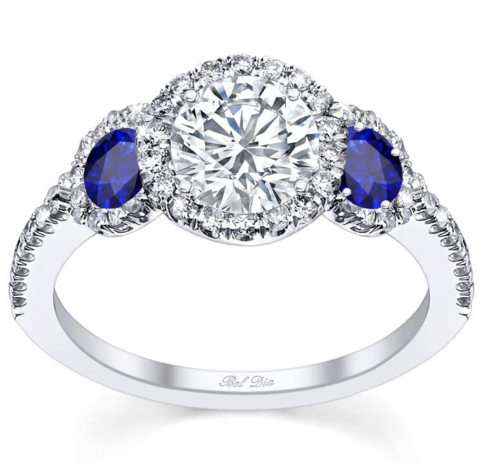 Diamond Three Stone Engagement Ring with Sapphire Accents