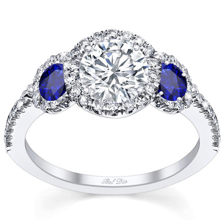 Diamond Three Stone Halo Engagement Ring with Sapphire Accents